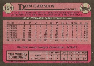 1989 Topps #154 Carman (Back)