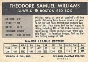 1954-Wilson-Franks-Baseball-Ted-Williams-back