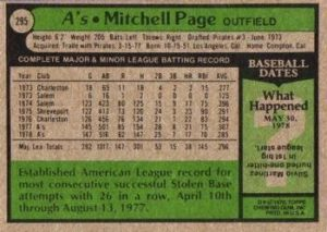 1979 Topps Mitchell Page (#295) -- back