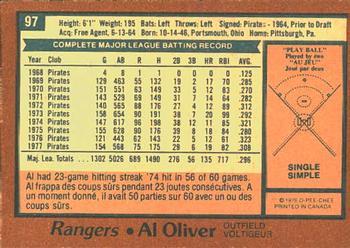1978 O-Pee-Chee Al Oliver (back)