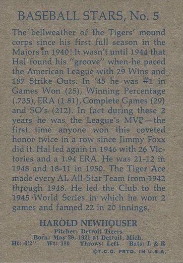 1973 Topps 1953 Topps Reprint Hal Newshouser (back)