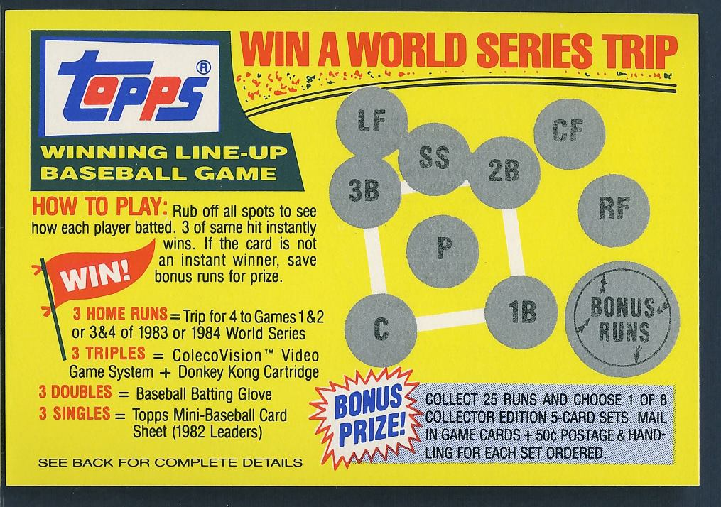 1983 Topps Game Card