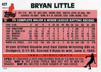1983 Topps Traded Bryan Little Back