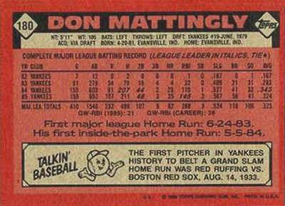 1986 Topps Don Mattingly (back)