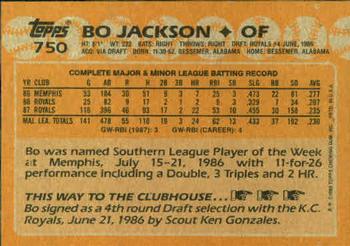 1988 Topps Bo Jackson (back)