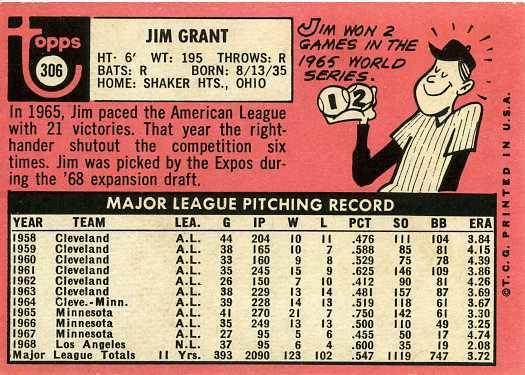 1969 Topps Jim Grant (back)