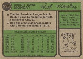 1974 Topps Rick Monday (back)