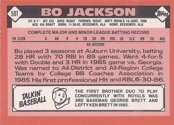 1986 Topps Traded Bo Jackson (back)