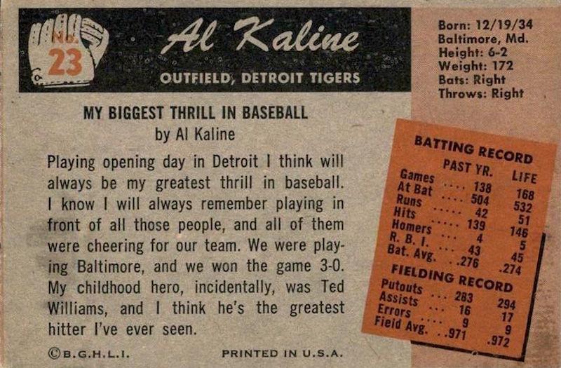 1955 Bowman Al Kaline (back)