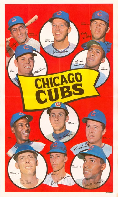 1969 Topps Chicago Cubs Team Poster