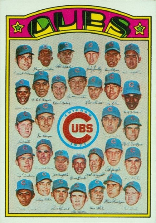 1972 Topps Chicago Cubs Team Card