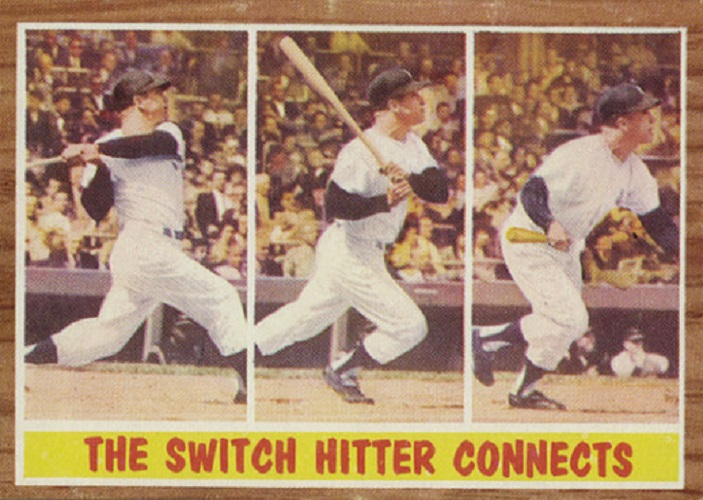 1962 Topps The Switch Hitter Connects -- Mickey Mantle
