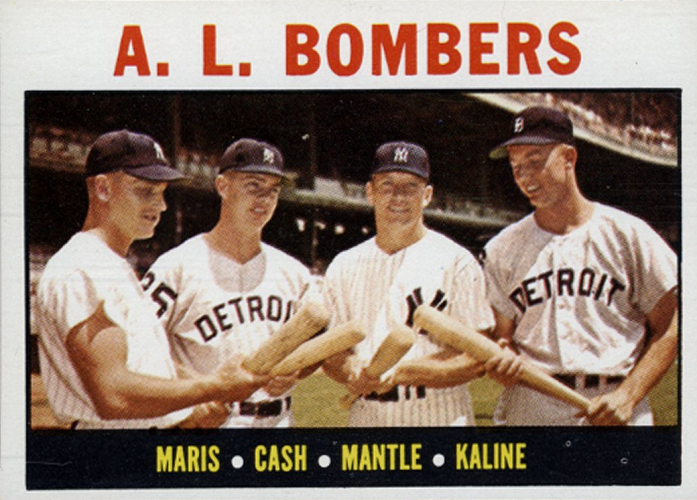 1964 Topps AL Bombers -- Norm Cash-Al Kaline-Mickey Mantle-Roger Maris