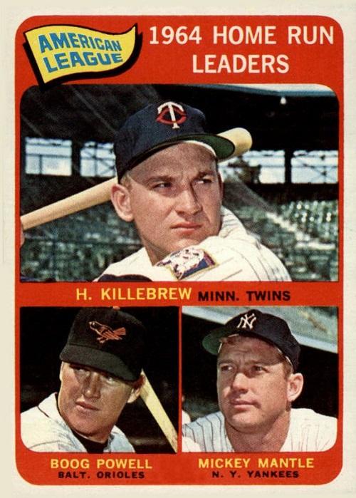 1965 Topps AL Home Run Leaders -- Harmon Killebrew-Mickey Mantle-Boog Powell