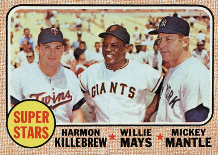1968 Topps Super Stars -- Harmon Killebrew-Willie Mays-Mickey Mantle