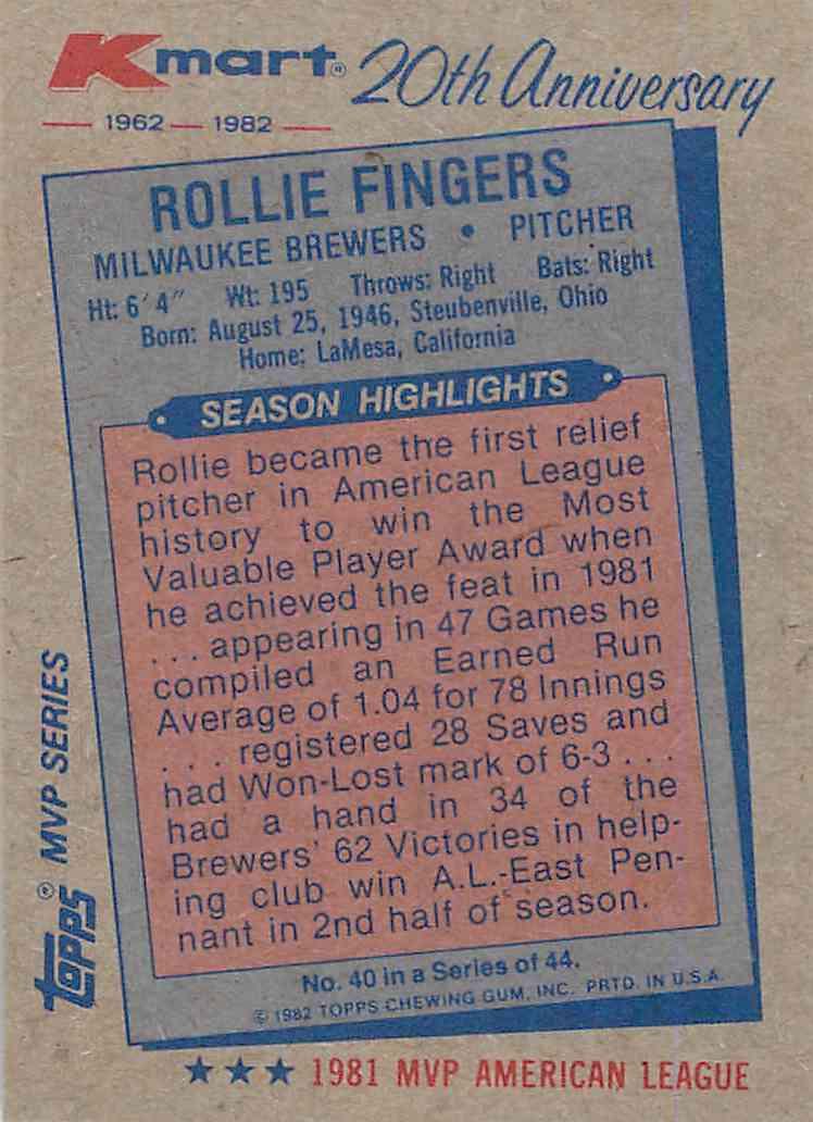 1982 Topps Kmart 1981 Topps Traded Rollie Fingers (back)