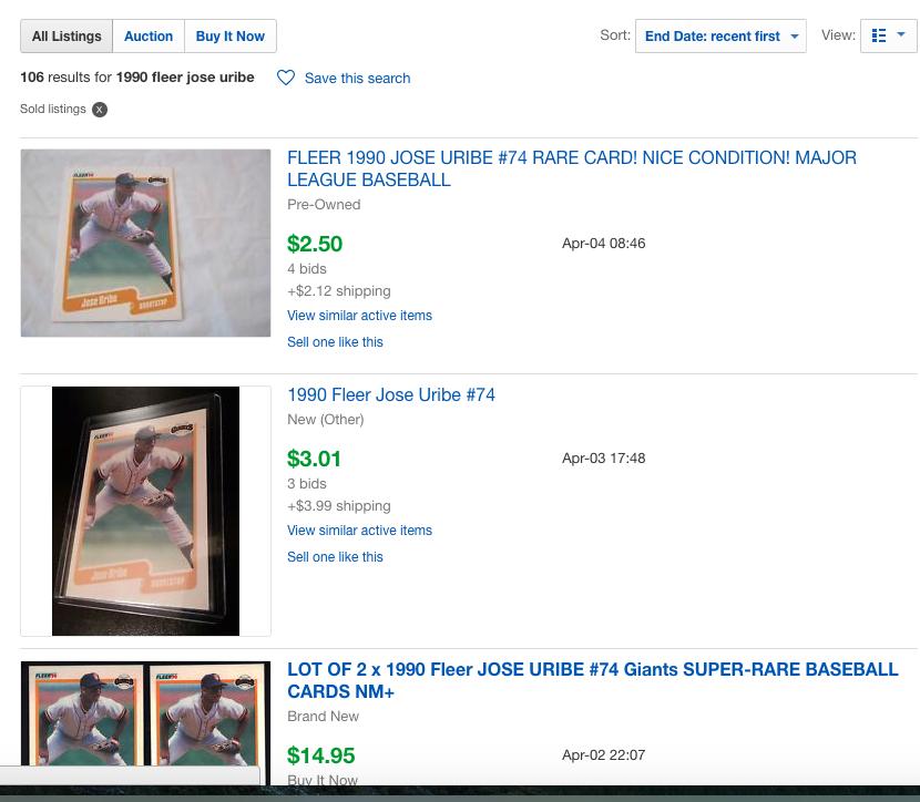 1990 Fleer Jose Uribe eBay Sold