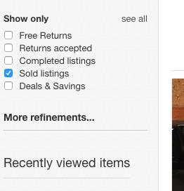 eBay Sold Listings checkbox