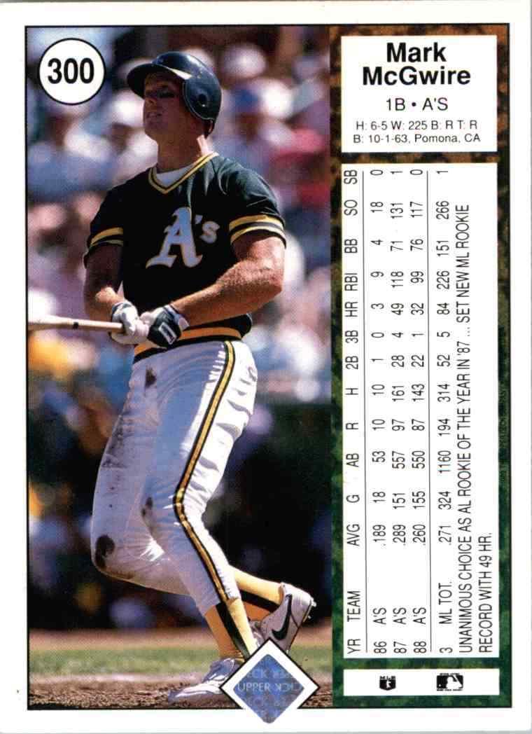 1989 Upper Deck Mark McGwire (back)