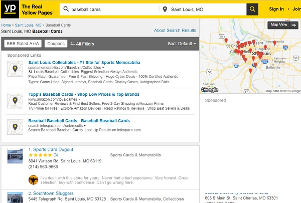 Yellow Pages St louis baseball card shops