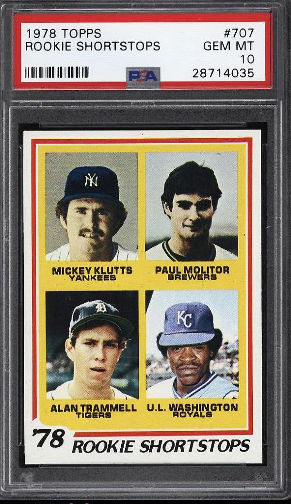 1978 Topps Paul Molitor Alan Trammell Rookie Card PSA 10