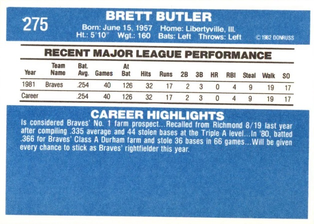 1982 Donruss Brett Butler (back)
