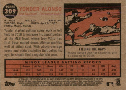 2011 Topps Heritage Yonder Alonso (back)