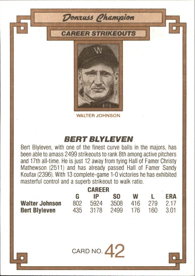 1984 Donruss Champions Bert Blyleven (back)