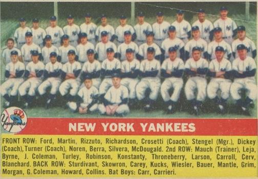 1956 Topps Yankees Team