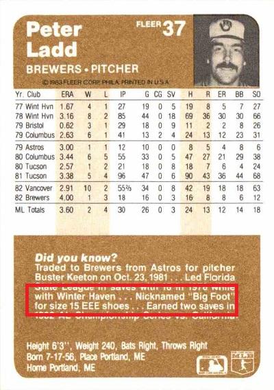 1983 Fleer Pete Ladd (back)