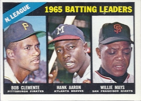 1966 Topps NL Batting Leaders (Clemente,Aaron,Mays)