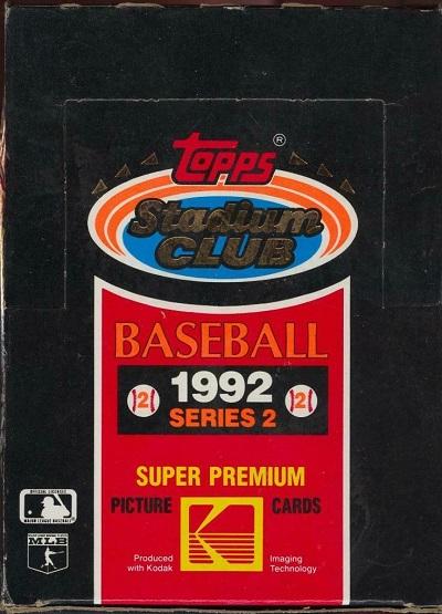 1992 Stadium Club baseball cards topps wax packs mylar unopened box series 2