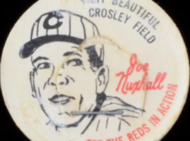 """1963 French Bauer Reds Milk Caps Joe Nuxhall — An Age-Appropriate Beverage """"Card"""""""
