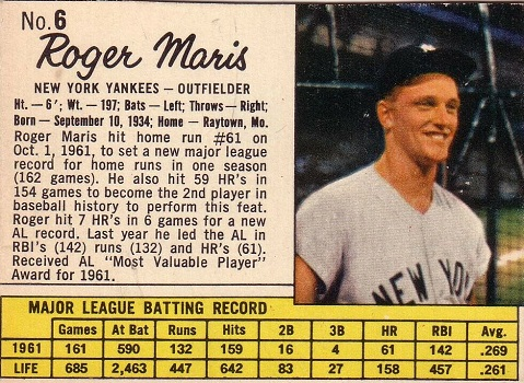 1962 Jell-O Pudding Roger Maris Box (#6)