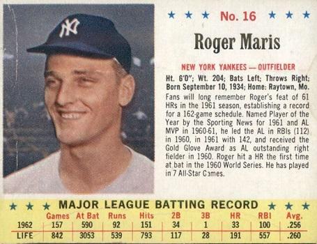 1963 Post Roger Maris (#16)