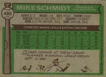 1976 Topps Mike Schmidt (#480) back