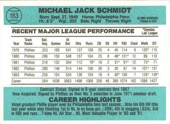 1984 Donruss Mike Schmidt (#183) back