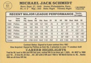 1985 Donruss Mike Schmidt (#61) back