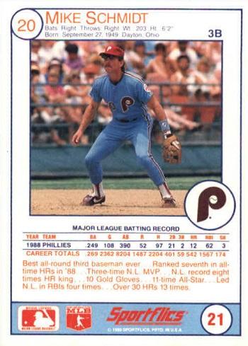 1989 Sportflics Mike Schmidt (#21) back