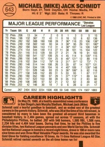 1990 Donruss Mike Schmidt (#643) back