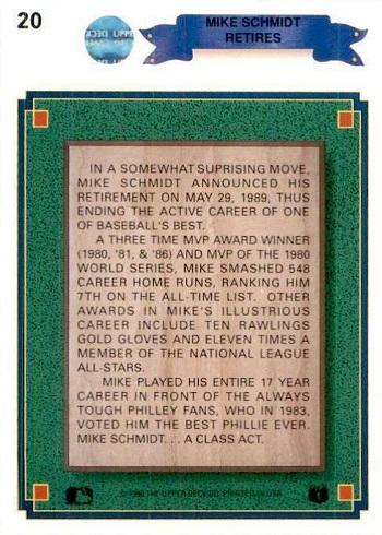 1990 Upper Deck Mike Schmidt (#20) back