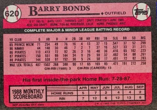 1989 Topps Barry Bonds #620 (back)